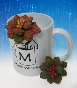 """Holly and Poinsettia"" Mug Buddy Topper Duo"
