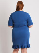Curvy Plus Size Wrap front Surplice Dress with ruffles and sleeves in blue cobalt