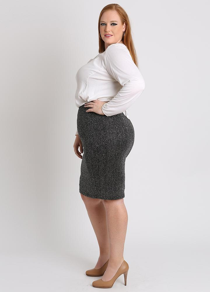 be66df08e94 ... KNIT  CURVY PLUS SIZE PENCIL SKIRT IN BLACK   SILVER SWEATER ...