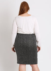 CURVY PLUS SIZE PENCIL SKIRT IN BLACK & SILVER SWEATER KNIT
