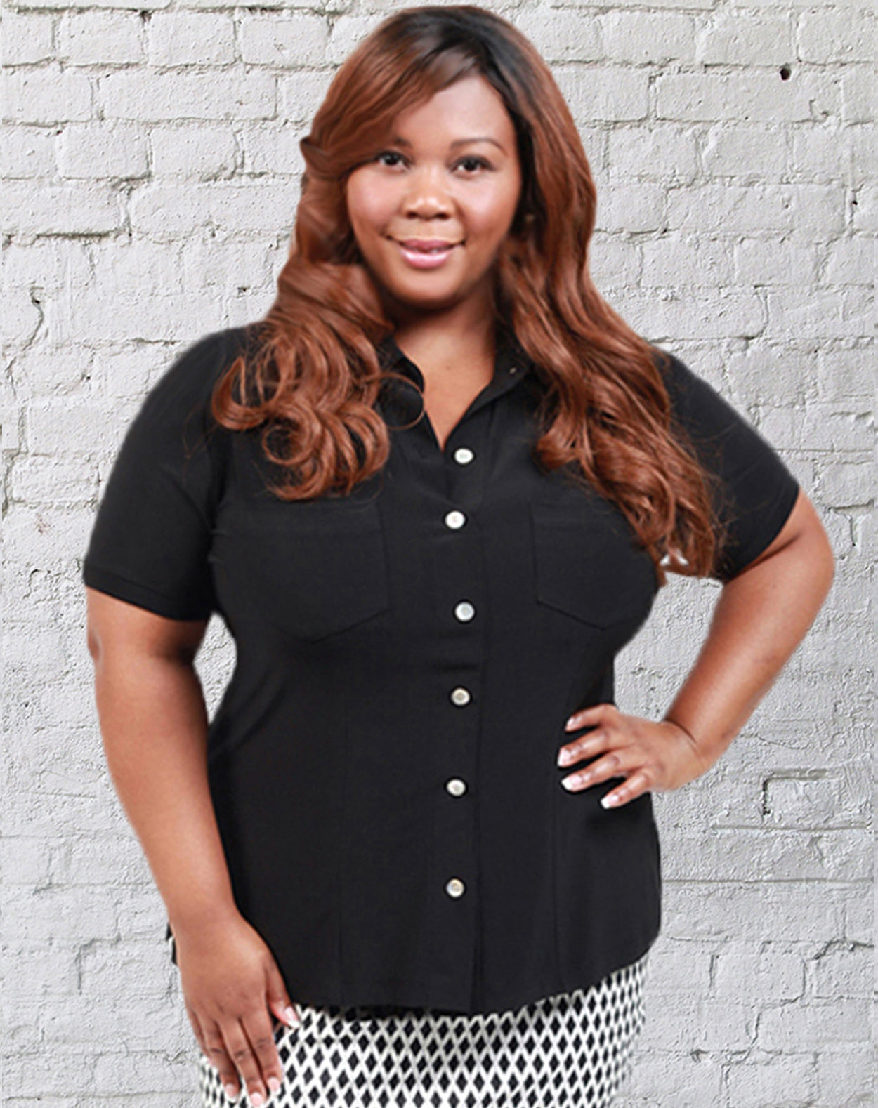 CURVY WOMENS BLACK PLUS SIZE BUTTON FRONT SHIRT OXFORD STYLE WITH COLLAR AND SHORT SLEEVES