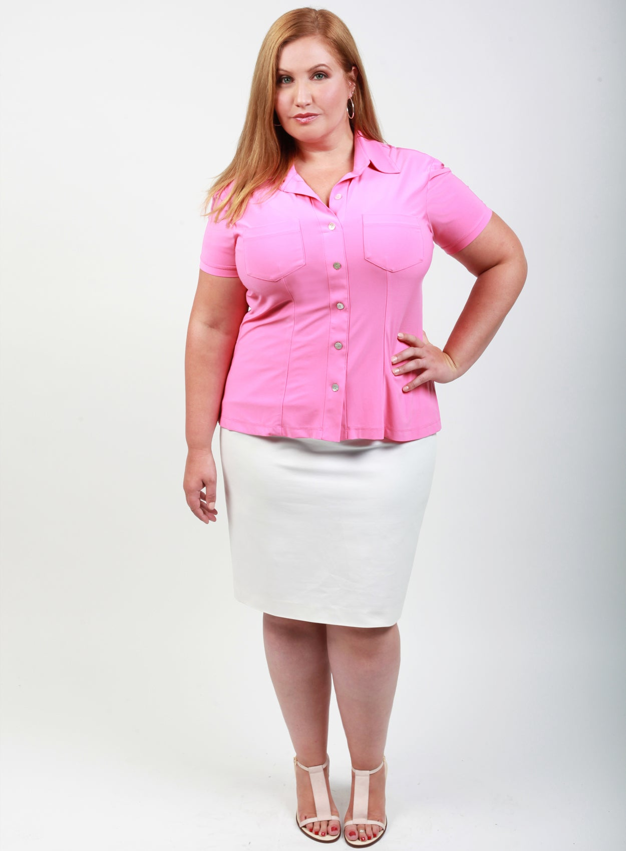CURVY WOMENS PINK PLUS SIZE BUTTON FRONT SHIRT OXFORD STYLE WITH COLLAR AND SHORT SLEEVES