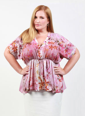 CURVY WOMENS PLUS SIZE PINK FLORAL BLOUSE TOP WITH EMPIRE WAIST AND KIMONO SLEEVES