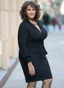 CURVY BLACK WRAP FRONT PLUS SIZE SURPLICE DRESS WITH SLEEVES