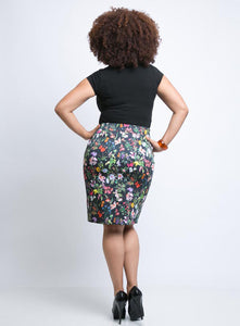 CHRISSA Plus Size Floral Pencil Skirt