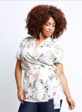 curvy women's plus size wrap blouse with self tie belt in ivory floral