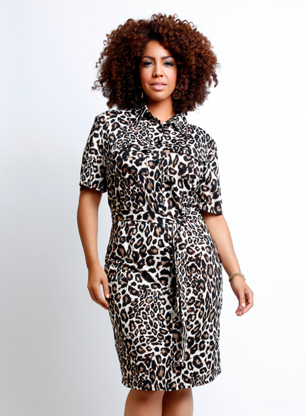 CURVY BUTTON FRONT PLUS SIZE SHIRT DRESS WITH SLEEVES IN LEOPARD PRINT
