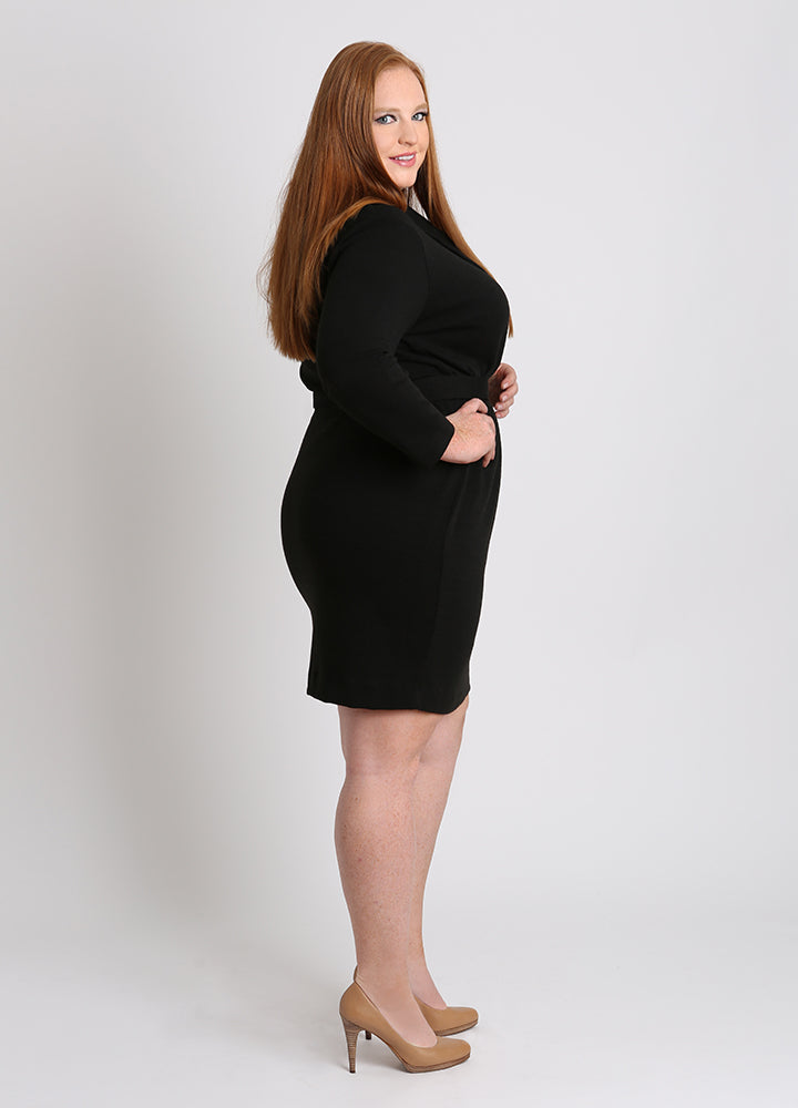 CURVY BLACK PLUS SIZE WRAP FRONT SURPLICE SWEATER DRESS WITH SLEEVES AND BELT