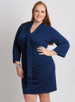 CURVY PLUS SIZE SHEATH DRESS WITH TIE NECK AND SLEEVES IN BLUE