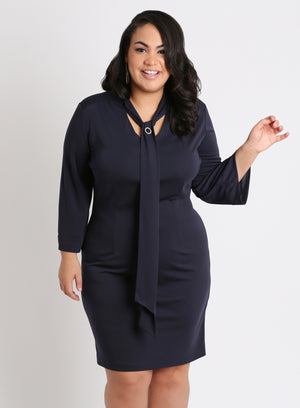 CURVY PLUS SIZE SHEATH DRESS WITH TIE NECK AND SLEEVES IN NAVY BLUE