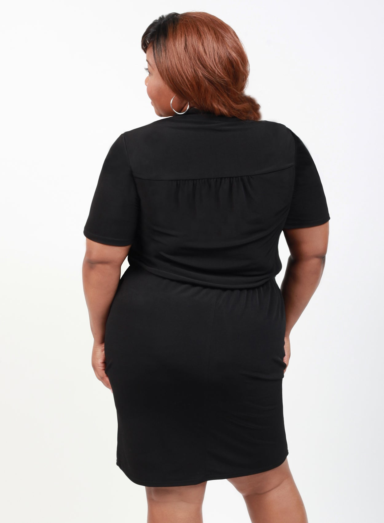 CURVY BLACK PLUS SIZE BUTTON FRONT SHIRT DRESS WITH SLEEVES AND DRAWSTRING