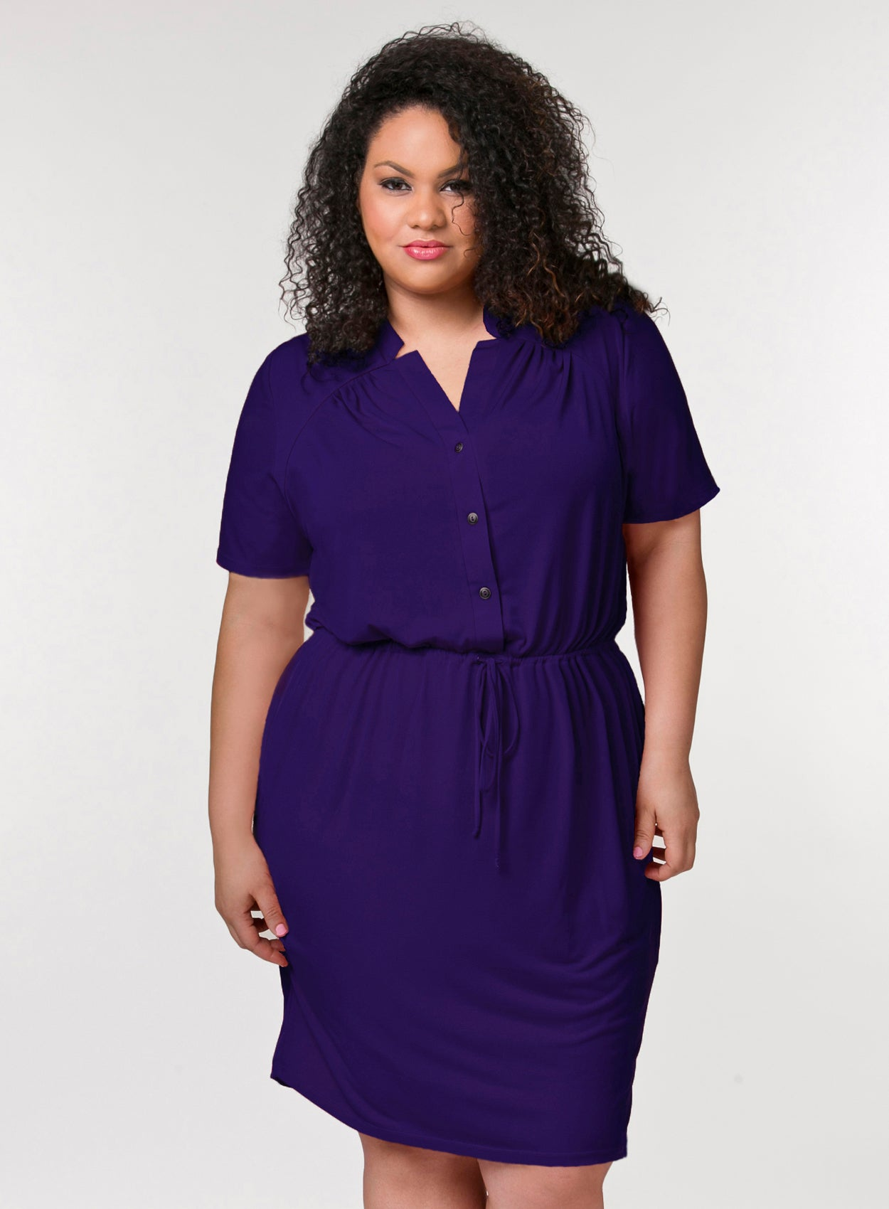CURVY PURPLE PLUS SIZE BUTTON FRONT SHIRT DRESS WITH SLEEVES AND DRAWSTRING