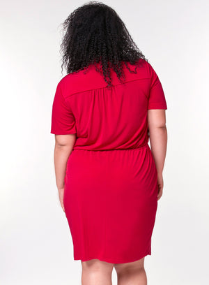 CURVY RED PLUS SIZE BUTTON FRONT SHIRT DRESS WITH SLEEVES AND DRAWSTRING