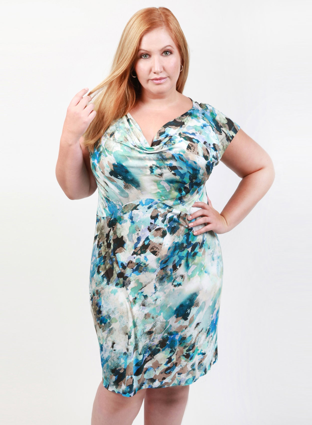 2a6fd178d8 ... curvy women s blue plus size summer dress with empire waist and short  sleeves in abstract print ...