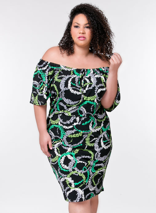 CURVY PRINTED BLACK PLUS SIZE OFF THE SHOULDER DRESS WITH SLEEVES