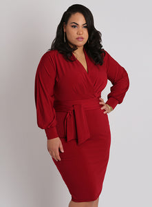CURVY RED WRAP FRONT PLUS SIZE SURPLICE DRESS WITH SLEEVES