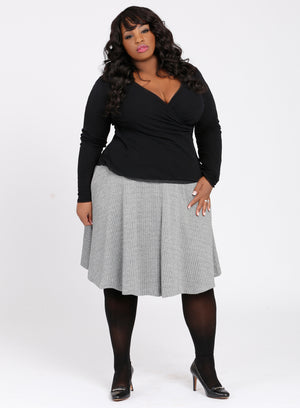 CURVY PLUS SIZE A-LINE FULL CIRCLE MIDI SKIRT IN BLACK & WHITE MENSWEAR HERRINGBONE PATTERN