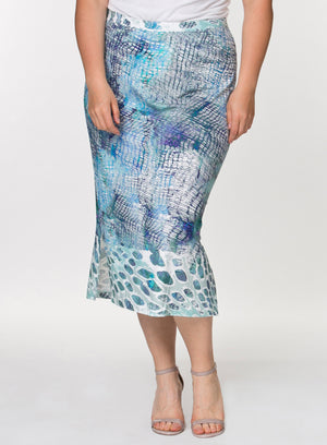 CURVY BLUE PRINTED PULL ON ELASTIC WAIST PLUS SIZE KNIT SKIRT