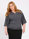 CURVY Charcoal Heather Grey Plus Size Kimono Sleeve Sweater TOP