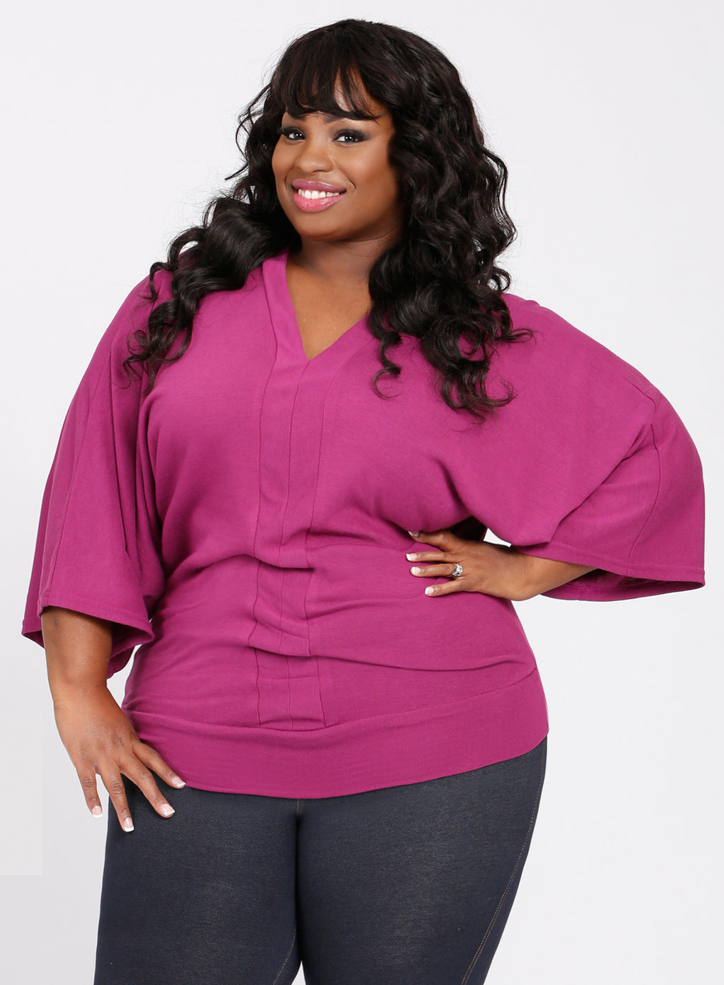 CURVY Fuchsia PINK Plus Size Kimono Sleeve Sweater TOP