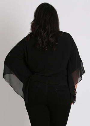 CURVY BLACK PLUS SIZE KNIT TOP WITH SHEER CHIFFON SLEEVES