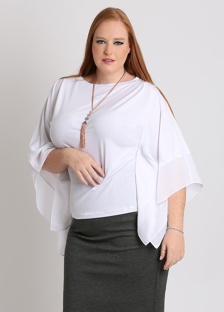 CURVY WHITE PLUS SIZE KNIT TOP WITH SHEER CHIFFON SLEEVES