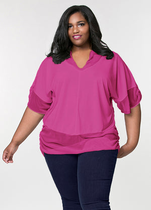 CURVY MATTE JERSEY FUCHSIA PLUS SIZE KNIT TOP WITH SHEER CHIFFON SLEEVES