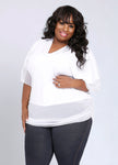 CURVY MATTE JERSEY WHITE PLUS SIZE KNIT TOP WITH SHEER CHIFFON SLEEVES