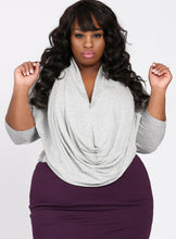 CURVY WOMEN'S PLUS SIZE DRAPE NECK TOP IN SPARKLING SILVER HEATHER GRAY KNIT