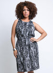 CURVY SLEEVELESS PLUS SIZE TANK DRESS IN ANIMAL PRINT