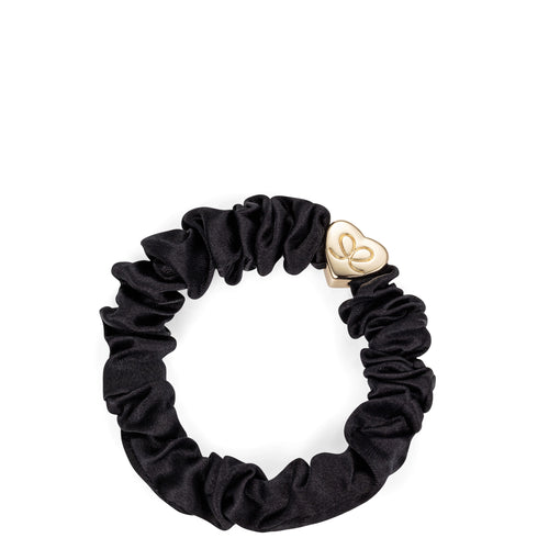 Silk Scrunchie Gold Heart - Black