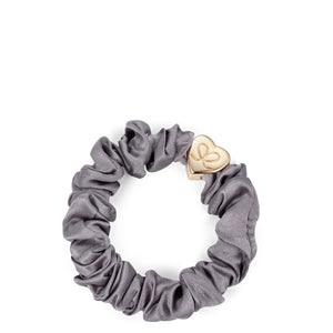 Silk Scrunchie Gold Heart - Grey
