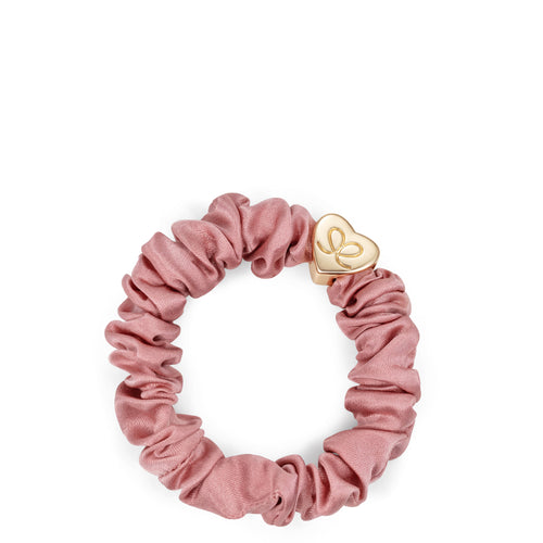 Silk Scrunchie Gold Heart - Champagne Pink - Cie Luxe | Your Life Styled