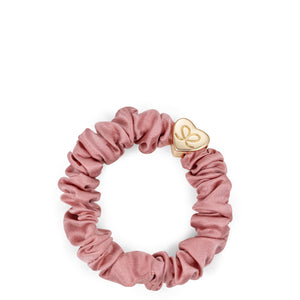 Silk Scrunchie Gold Heart - Champagne Pink
