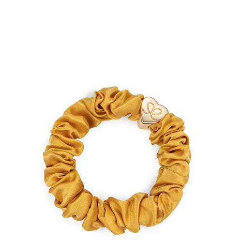 Silk Scrunchie Gold Heart - Mustard