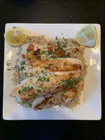 Lemon & Garlic Fish with Broccolini Quinoa
