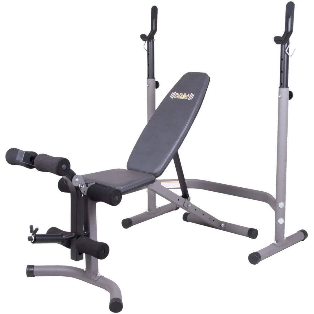 Body Champ BCB3780 Olympic Weight Bench w/Leg Extension Curl Lift Developer Attachment / 2 piece Combo Bench and Squat Rack Stand bench Body Champ
