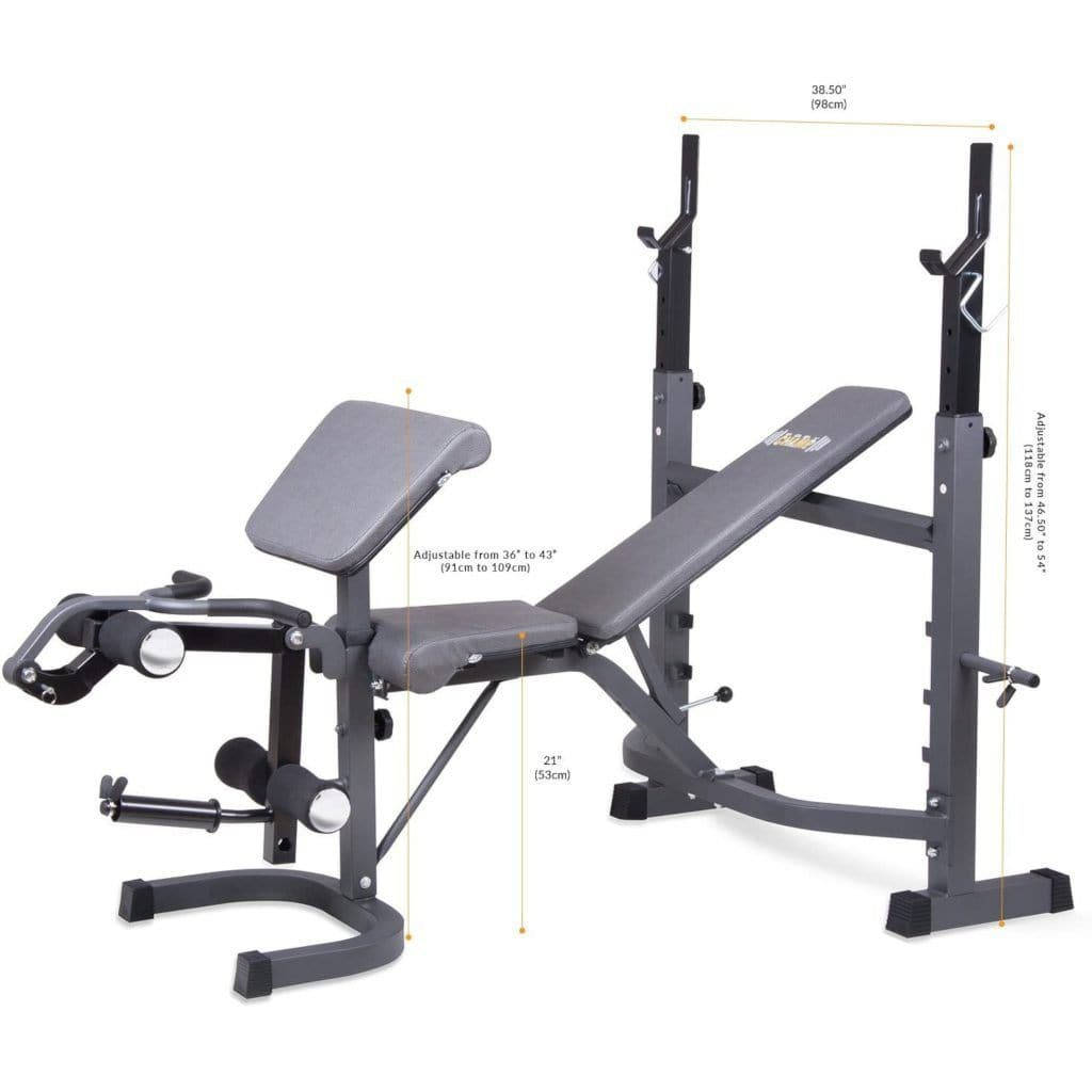 Body Champ BCB5860 Olympic Weight Bench with Preacher Curl Leg Developer and crunch handle bench Body Champ