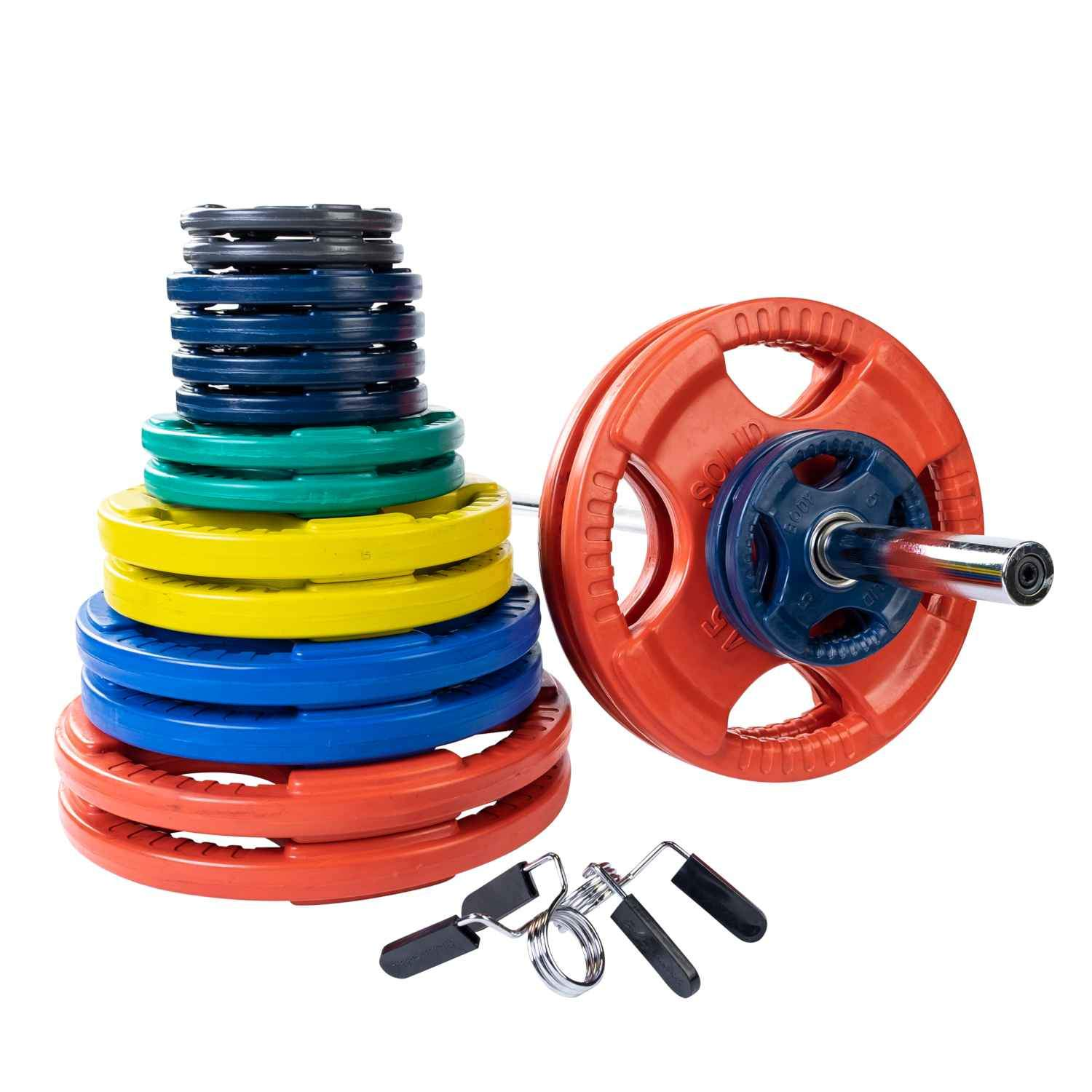 Body-Solid Colored Rubber Olympic Grip Plate Set With Chrome Bar and Collar plate Body-Solid Iron 500 lb