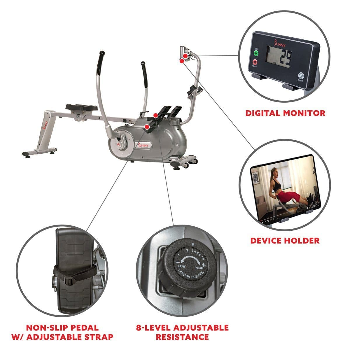 Full motion magnetic rowing machine Cardio Training Sunny Health and Fitness