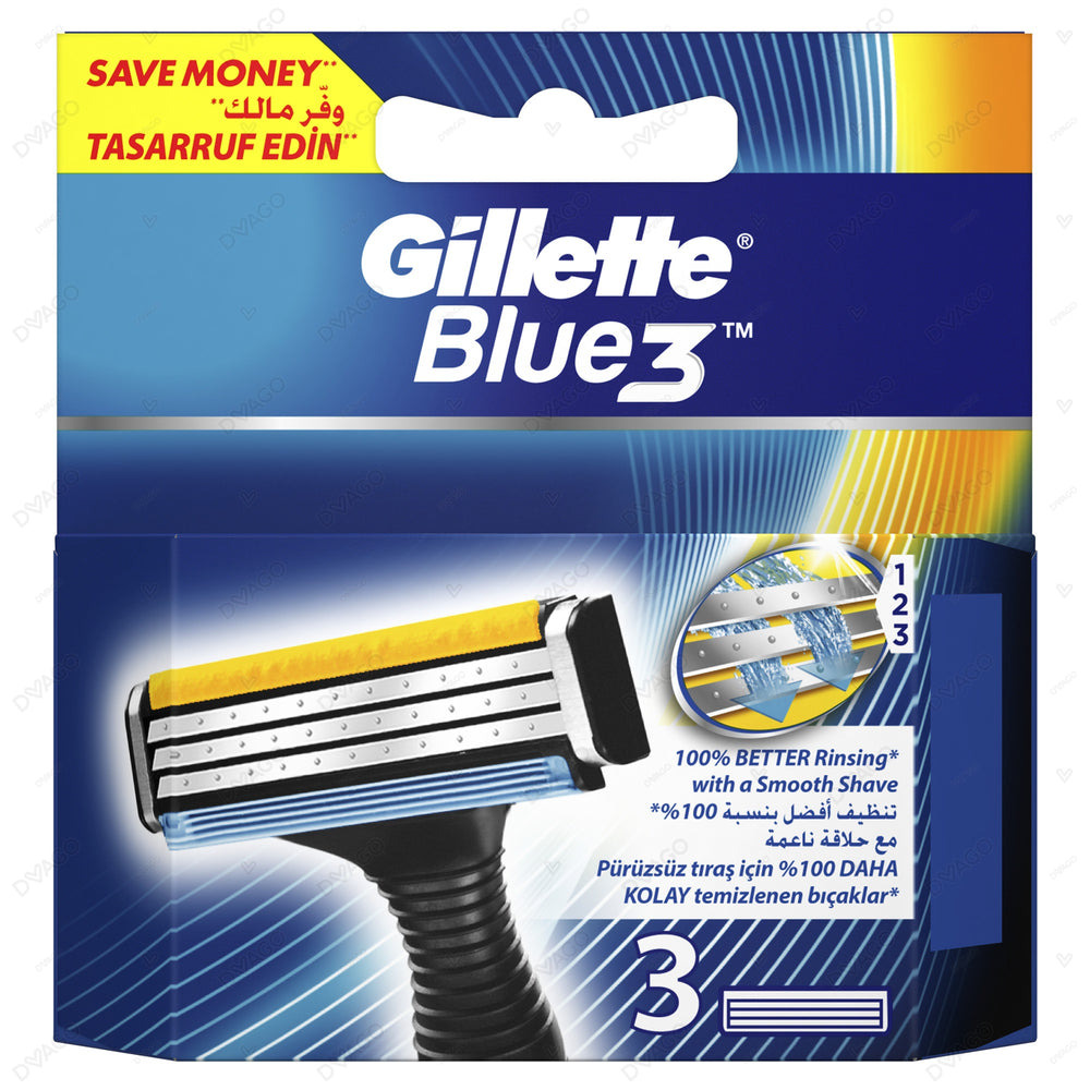 Gillette Blue 3 System Shaving Razor Cartridges 3's