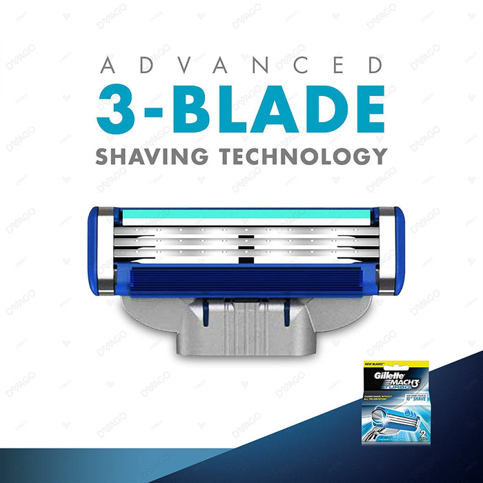 Gillette Mach 3 Turbo Shaving Razor Cartridges 2's