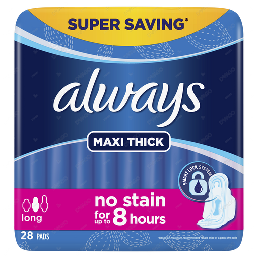 Always Thicks Sanitary Pads Long Trio Pack 30 Count
