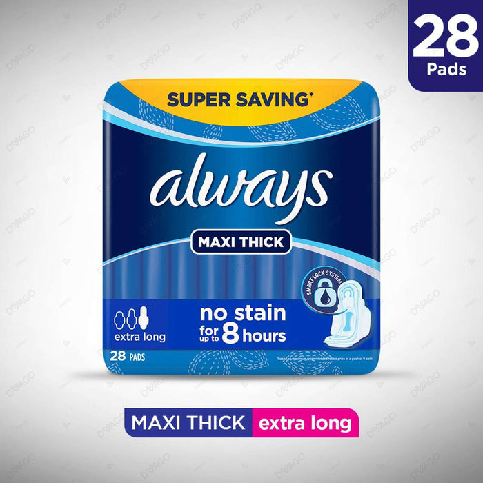 Always Thicks Sanitary Pads Extra Long Trio Pack 28 Count