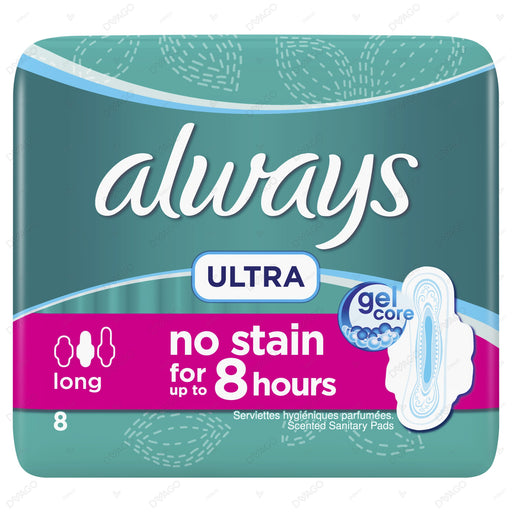 Always Ultra Sanitary Pads Long Single Pack 8 Count