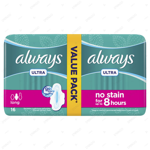 Always Ultra Sanitary Pads Long Value Pack 16 Count
