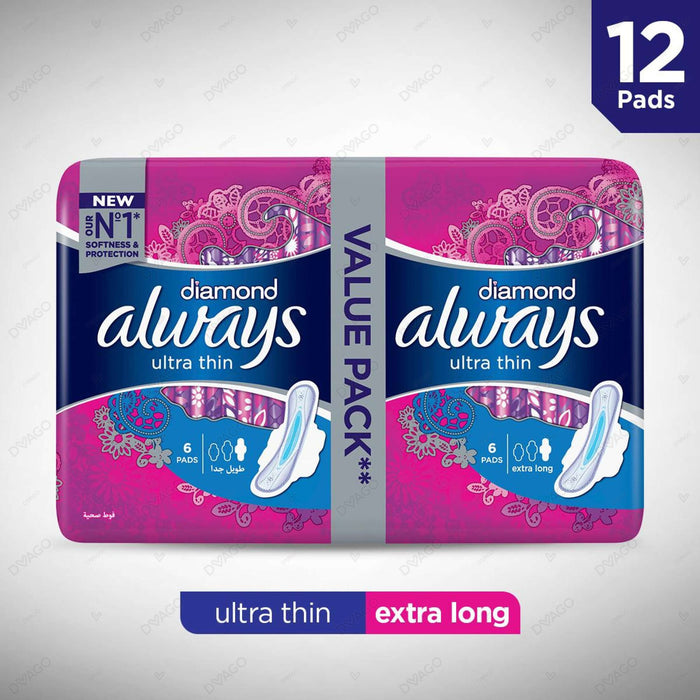 Always Diamonds Ultra Thin Sanitary Pads Extra Long Value Pack 12 Count