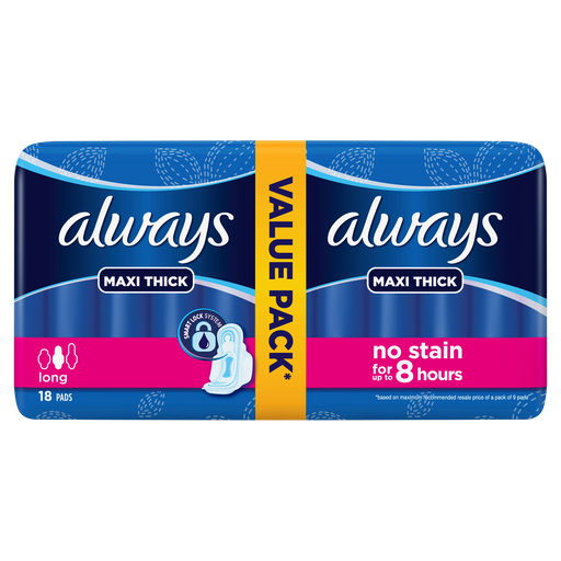 Always Thicks Maxi Sanitary Pads Long Value Pack 18 Count