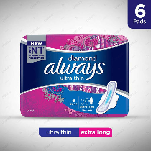 Always Diamonds Ultra Thin Sanitary Pads Extra Long Single Pack 6 Count