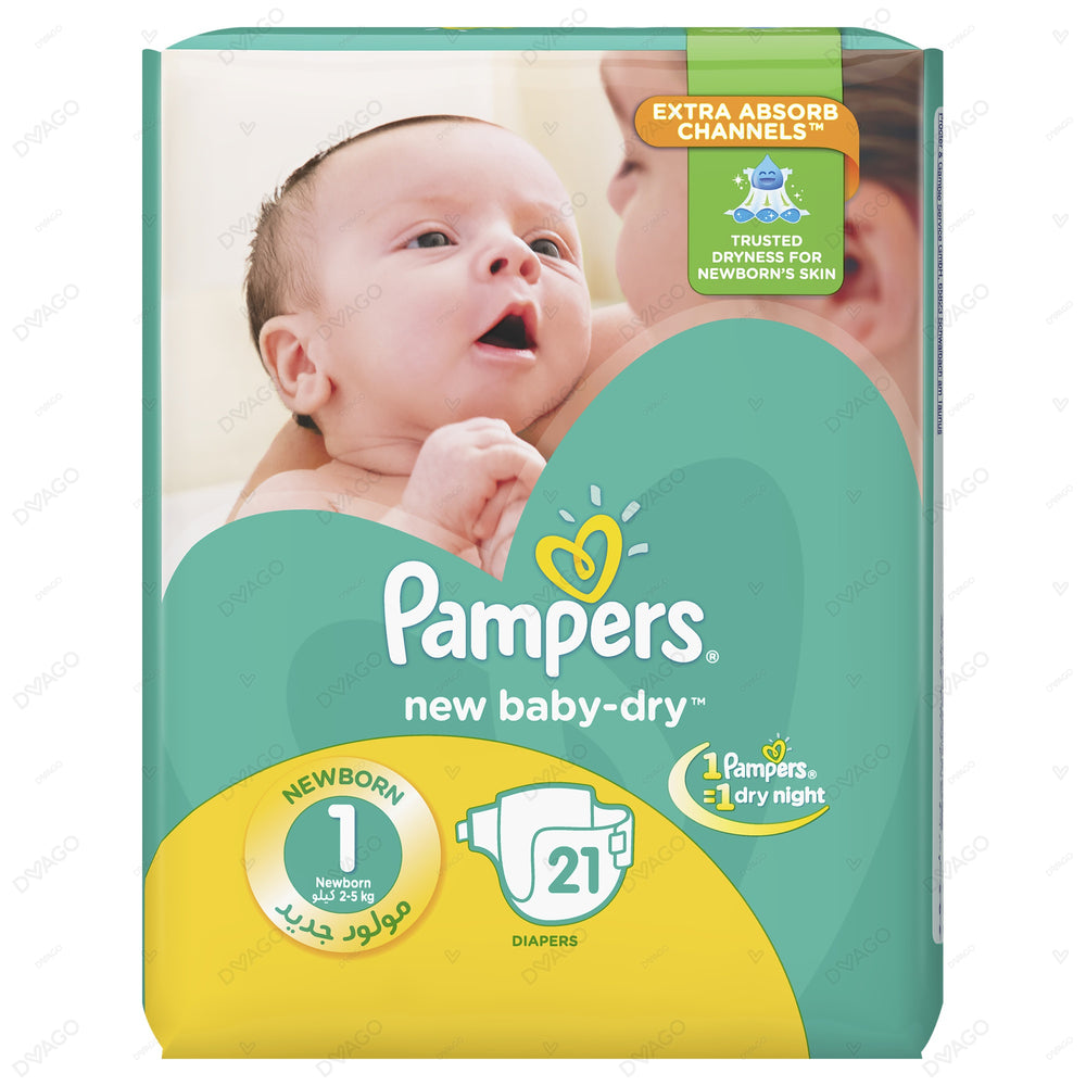 Pampers Baby Dry Diapers New Born 21 Count